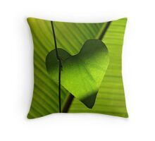 Green Leafy Heart Throw Pillow