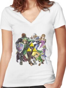 Legend Of Zelda Characters Women's Fitted V-Neck T-Shirt
