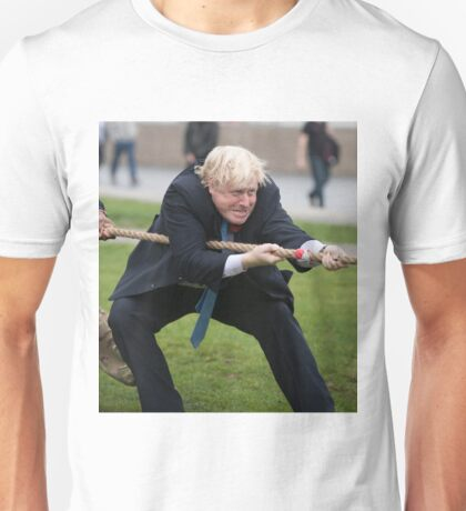 Boris Johnson grits his teeth during tug of war Unisex T-Shirt