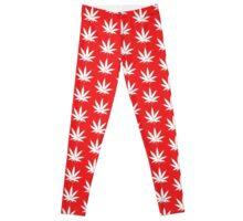 red weed leaf Leggings