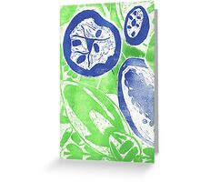 Fruit and Seeds Green/Blue Greeting Card