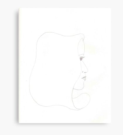 One Line Female Face Canvas Print