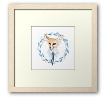 Fox and floral wreath. For cards Framed Print