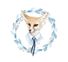 Fox and floral wreath. For cards Photographic Print
