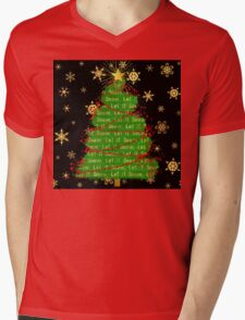 Let It Snow Christmas Tree berry garland word art Mens V-Neck T-Shirt