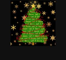 Let It Snow Christmas Tree berry garland word art Long Sleeve T-Shirt