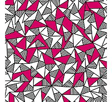 Girly Black, White, and Pink Striped Triangles Photographic Print