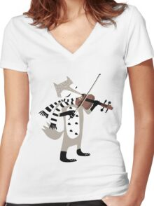 foxy violinist winter Women's Fitted V-Neck T-Shirt