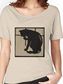 Art drawing black cat modern woodcut style Women's Relaxed Fit T-Shirt