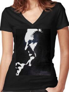 Shankly Black and White Women's Fitted V-Neck T-Shirt