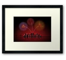 Fireworks over Cityscape Skyline Framed Print