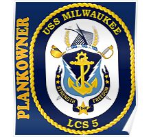 LCS-5 USS Milwaukee Plankowner for Dark Poster