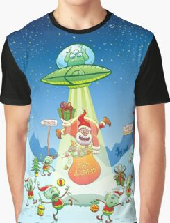 Santa Claus Abducted by a UFO just before Christmas Graphic T-Shirt