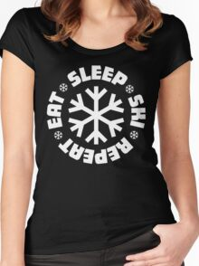 Eat Sleep Ski Repeat Women's Fitted Scoop T-Shirt