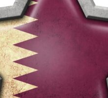 Qatari Flag Inside of an Aged and Scratched Star Sticker