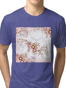Vintage abstract pink brown floral pattern Tri-blend T-Shirt