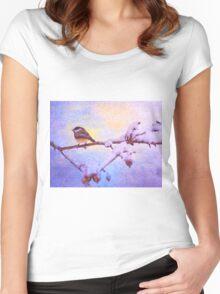 Black Cap Chickadee Winter Twilight Women's Fitted Scoop T-Shirt