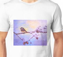 Black Cap Chickadee Winter Twilight Unisex T-Shirt