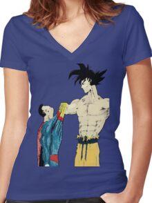 Superman vs Goku Women's Fitted V-Neck T-Shirt