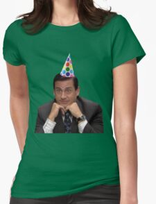 michael scott wearing party hat Womens Fitted T-Shirt