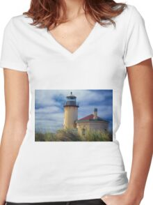 Coquille River Lighthouse Women's Fitted V-Neck T-Shirt