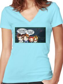 X Castle Files (background) Women's Fitted V-Neck T-Shirt