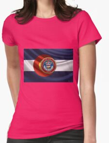 Colorado Great Seal over State Flag Womens Fitted T-Shirt