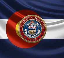 Colorado Great Seal over State Flag by Serge Averbukh