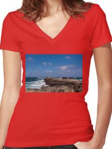 Fishing from the Lava Rocks, Hawaiian Style Women's Fitted V-Neck T-Shirt