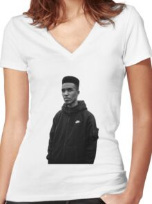 Novelist Grime Artist Black White Women's Fitted V-Neck T-Shirt
