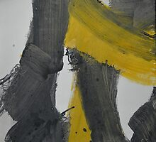 Yellow And Black Abstract 2 by Nancy Mauerman