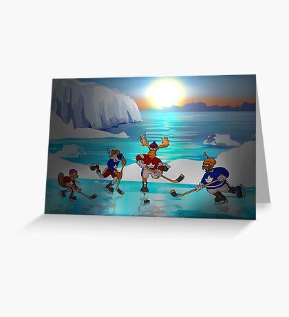 Arctic Hockey Sunset Greeting Card