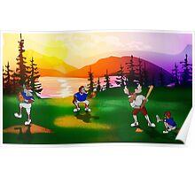 Baseball Sunset Poster