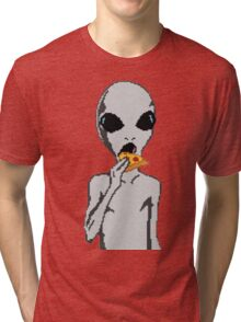 Alien eat pizza Tri-blend T-Shirt