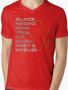 BLACK in Every Language Mens V-Neck T-Shirt