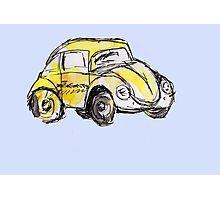 Yellow VW Bug Watercolor Sketch Photographic Print
