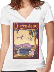 Art Deco Queensland with Queenslander House Women's Fitted V-Neck T-Shirt