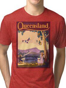 Art Deco Queensland with Queenslander House Tri-blend T-Shirt