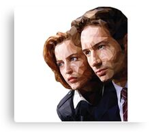 Low Poly X-Files Mulder and Scully Canvas Print
