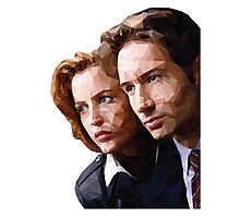Low Poly X-Files Mulder and Scully Photographic Print