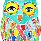 Watercolour Rainbow Owl by Pip Gerard