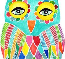 Watercolour Rainbow Owl by Pip Gerard