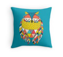 Aztec Owl Illustration Throw Pillow