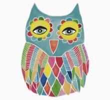 Watercolour Rainbow Owl One Piece - Short Sleeve