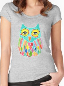Watercolour Rainbow Owl Women's Fitted Scoop T-Shirt