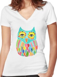 Watercolour Rainbow Owl Women's Fitted V-Neck T-Shirt