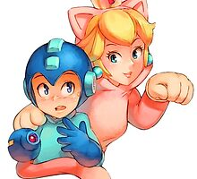 Mega Man and Princess Peach by alakaprazolam
