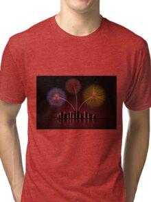 Fireworks over Cityscape Skyline Tri-blend T-Shirt