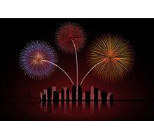 Fireworks over Cityscape Skyline Photographic Print