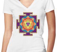 Sri Ganesha Yantra Women's Fitted V-Neck T-Shirt